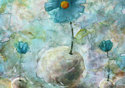 Aquarelle - Fleurs bleues