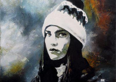 Acrylique - Femme au bonnet