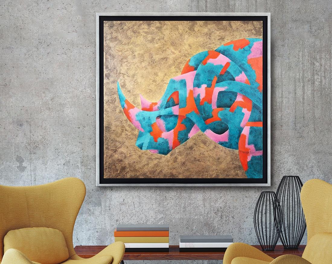 Peinture à l'huile rhinocéros