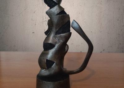 Sculpture chat noir métal polyuréthane dos