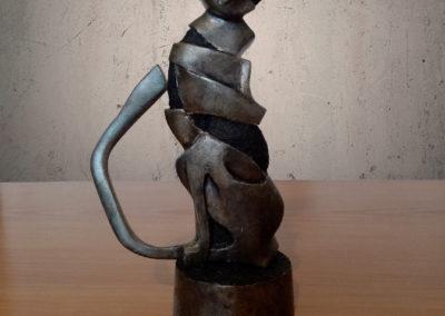 Sculpture chat noir métal polyuréthane face